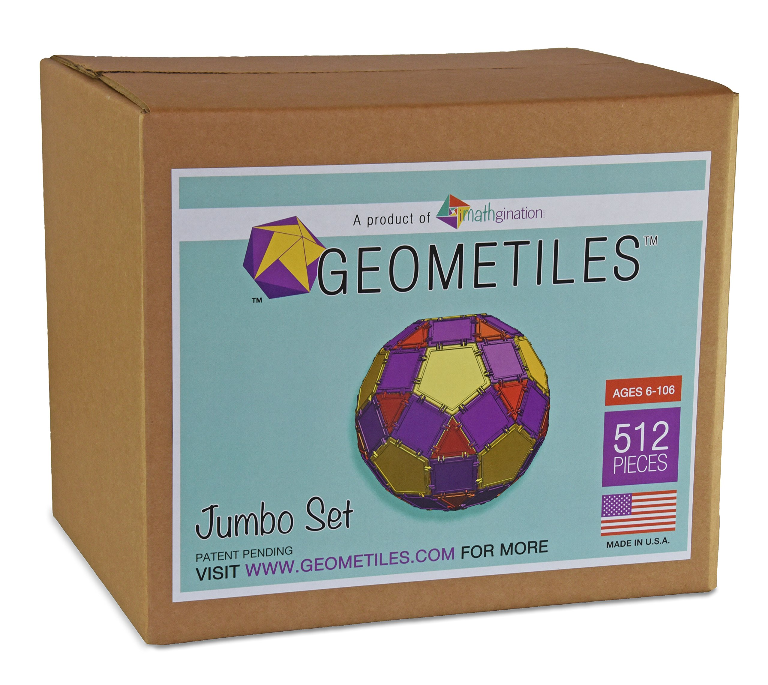 Geometiles 3D Building Set for Learning Math, Includes Free Online Activity Books, Jumbo Size, 512-pc, Made in USA