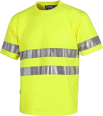 Work Team Camiseta Cuello Caja, Manga Corta, Cintas Reflectantes, Alta Visibilidad EN ISO 471:2013 Unisex