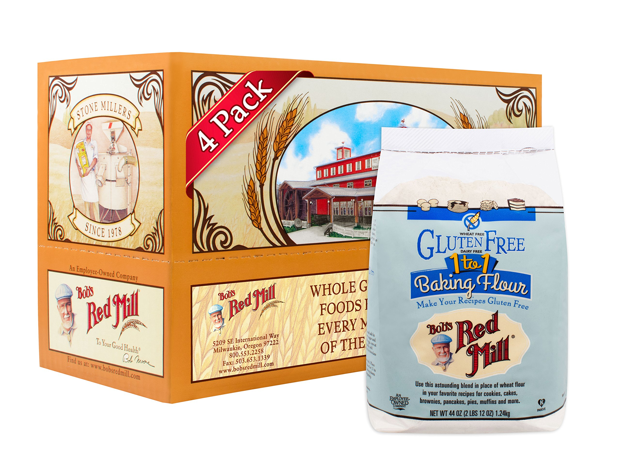 Bob's Red Mill Gluten Free 1 to 1 Baking Flour, 44 Ounce (Pack of 4)