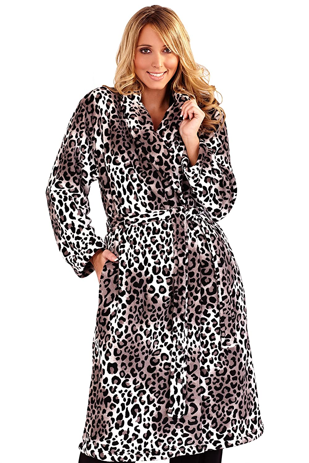 Womens Grey Leopard Print Full Length Dressing Gown with Belt, Large ...