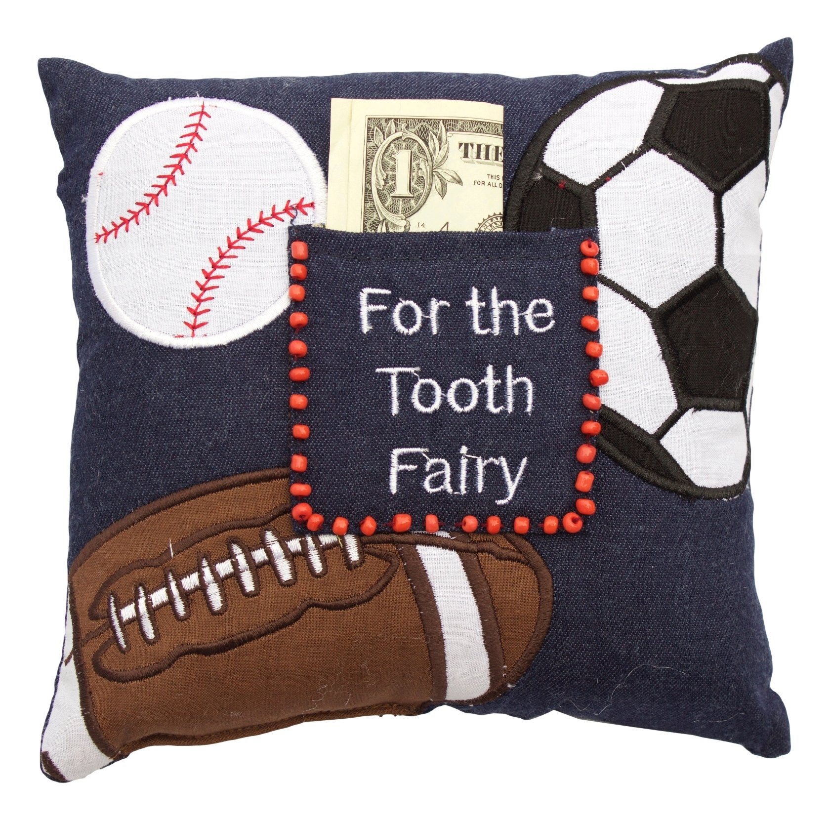 C&F Home ''For The Tooth Fairy'' Sports Theme (Football, Baseball, Soccer) Decorative Pillow, 8x8, Blue