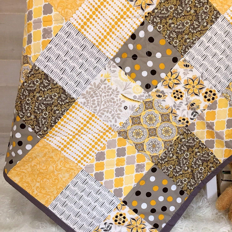 Handmade Quilts Baby Shower Present in Modern Gender Neutral Gray Nursery Bedding