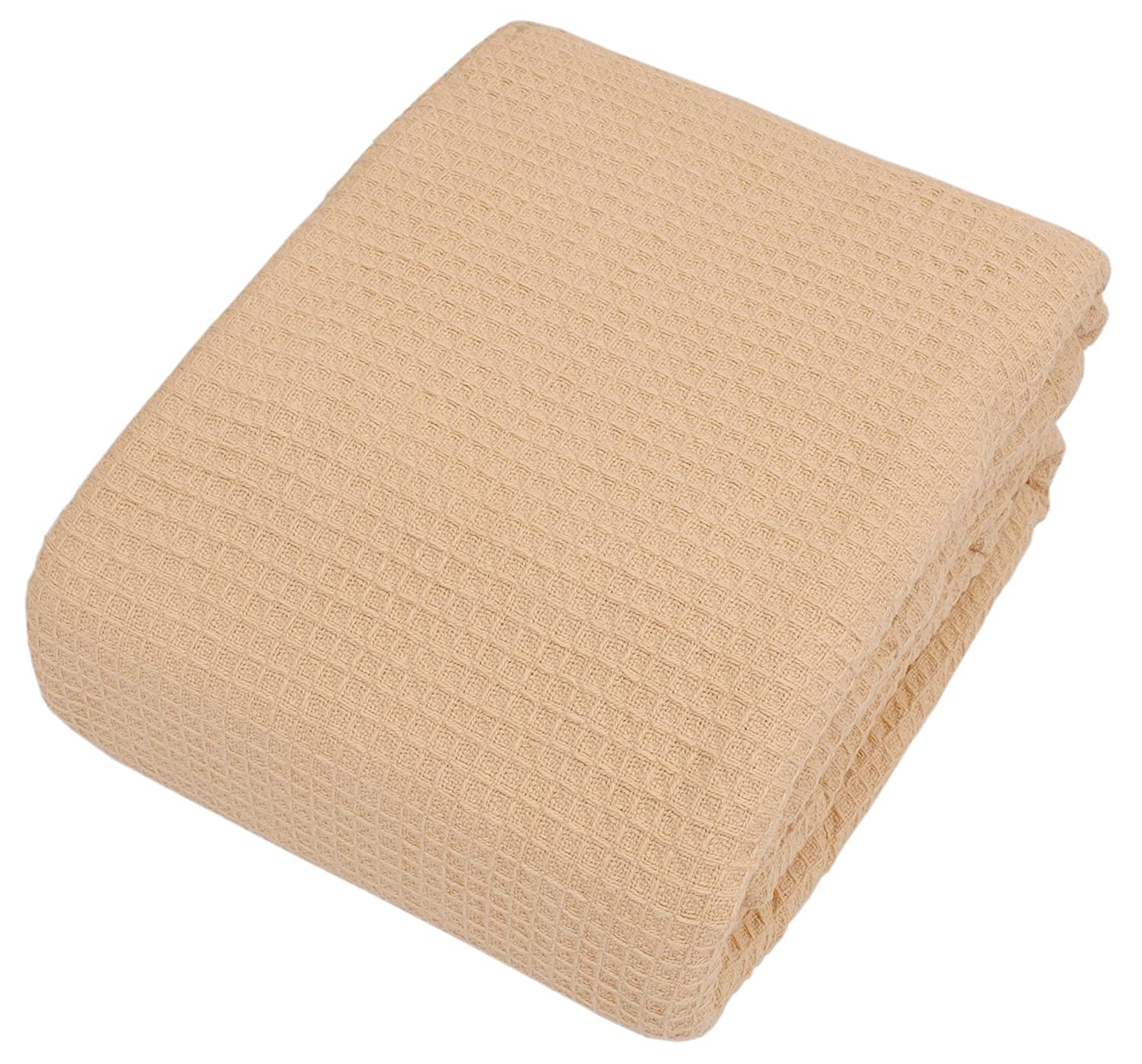 "TreeWool, Cotton Throw Blanket Lightweight Easy Care Soft Comfortable and Warm (Twin - 66"" x 90"", Waffle Weave, Beige)"