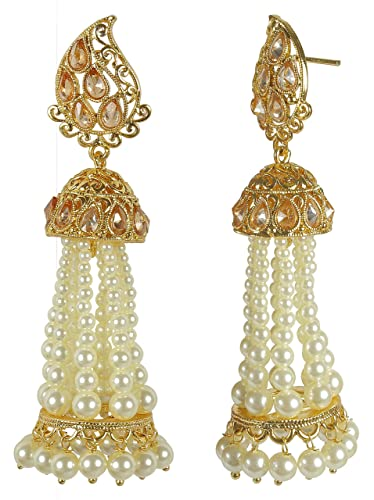 25d9b6e8f Amazon.com: MUCH-MORE Indian Glamorous Style Gold Plated Party Wear  Polki/Jhumka Earring Jewelry for Women (7389): Jewelry