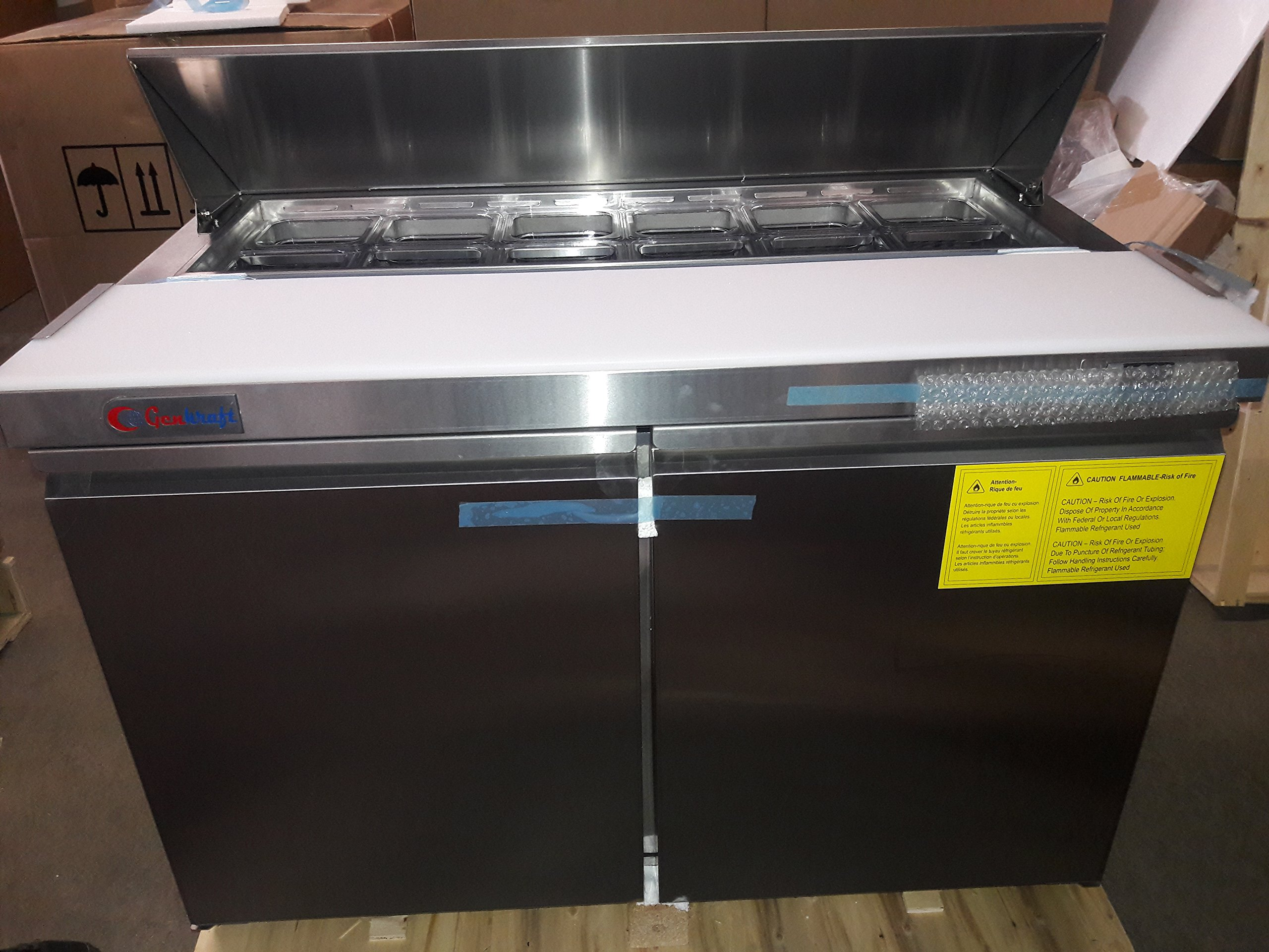 GenKraft Commercial Sandwich Prep Table, 48 inch Stainless Steel, - For use in the Stores & food service industry such as restaurants, bars, food catering, etc.
