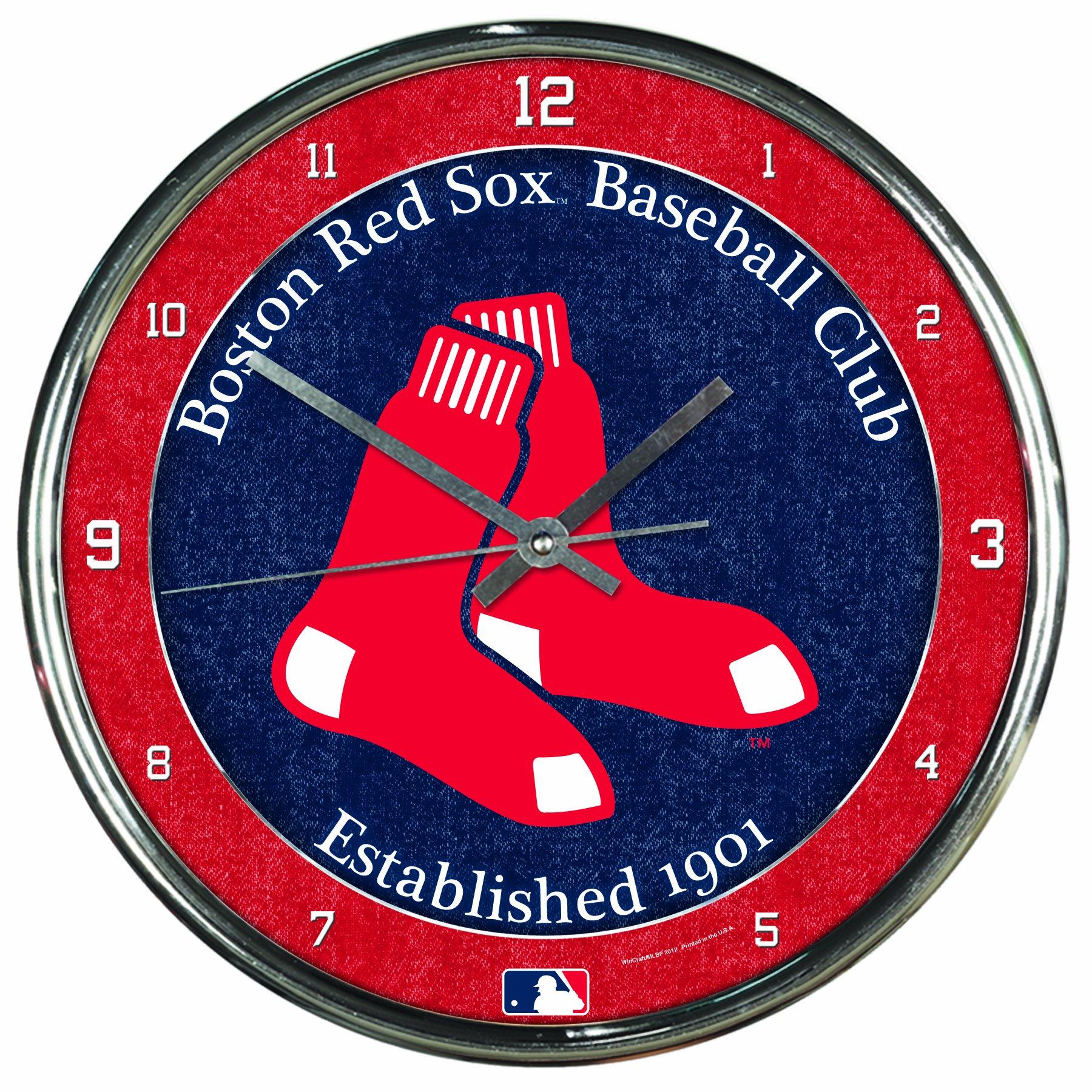 MLB Boston Red Sox Chrome Clock, 12'' x 12'' by WinCraft