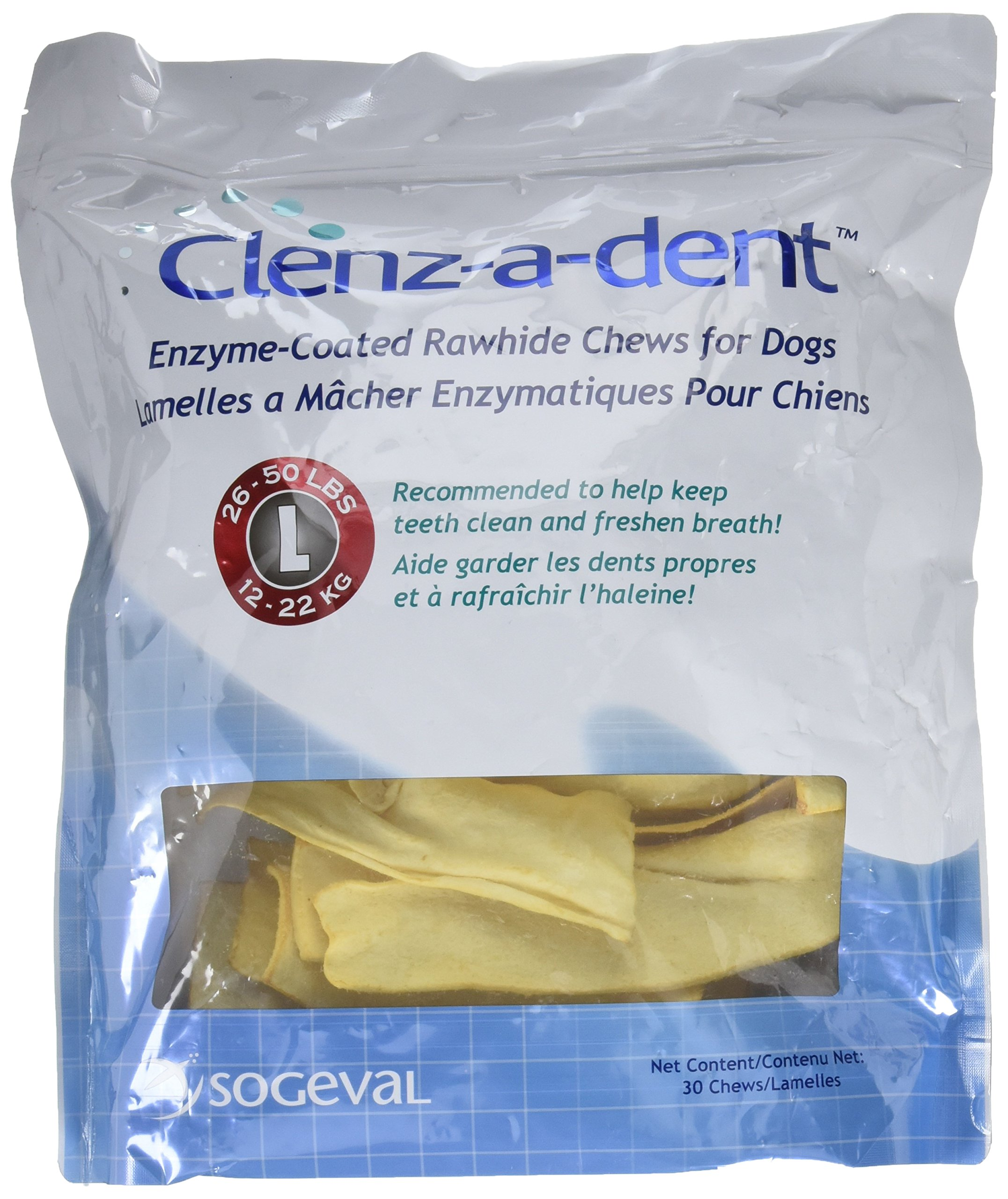 Clenzadent Rawhide Chews for Dogs Large (30 ct) by Clenz-a-dent