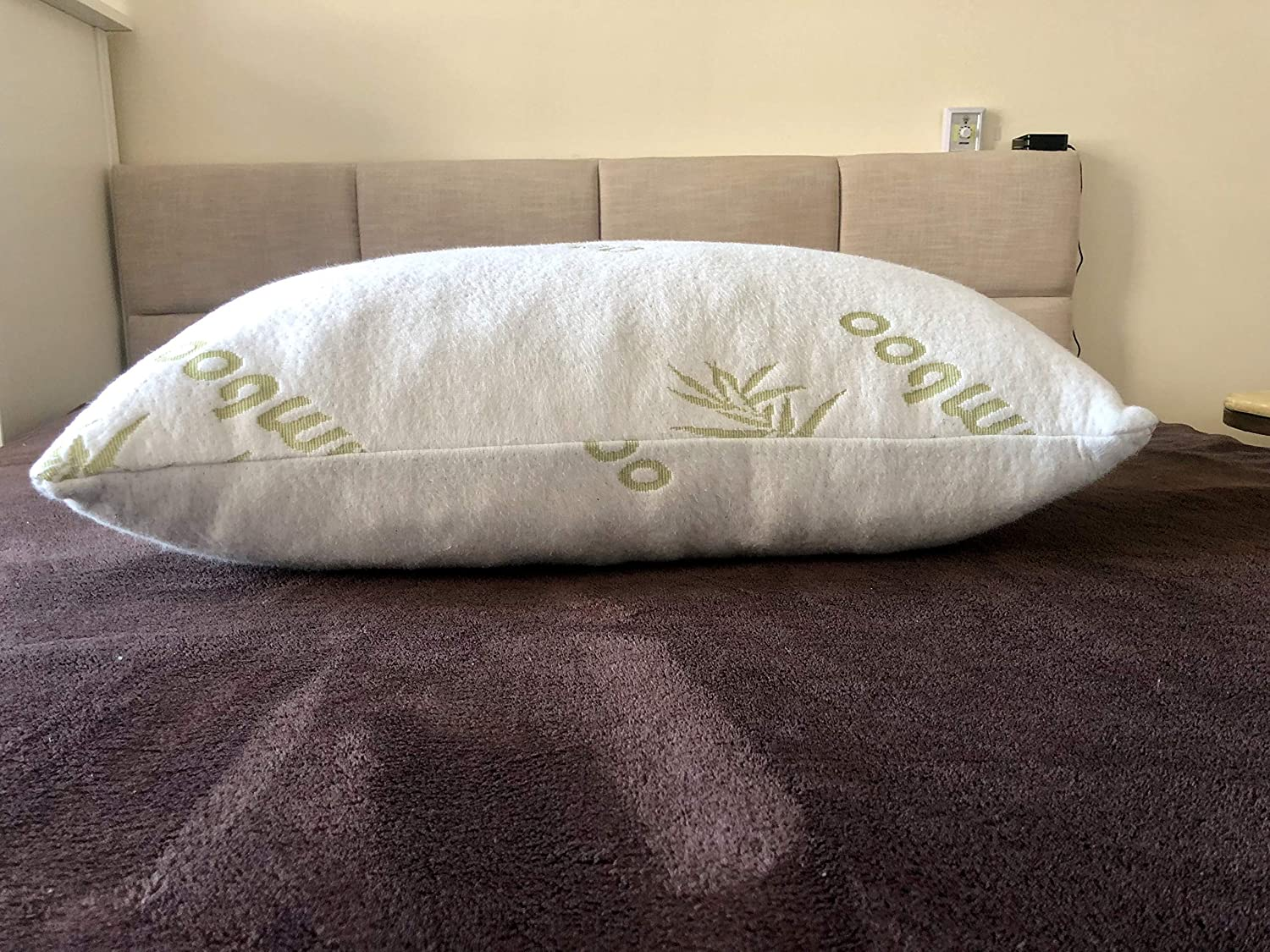 Bamboo Body Pillow Lumbar Support//Pregnancy Bamboo Body Pillow 54 Long Memory Foam Infused with Copper Ions Removable Bamboo Cover
