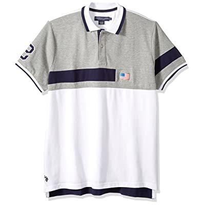 U.S. Polo Assn. Men's Short Sleeve Classic Fit Fancy Pique Polo Shirt at Men's Clothing store