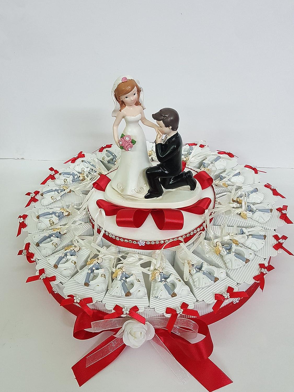 Torte Bomboniere Paar Brautpaar mit nastrin komplett-Karte Hochzeit Tischkarte 25 FETTE ( DUE PIANI)