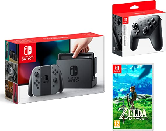 Nintendo Switch consola 32Gb Gris + The Legend of Zelda: Breath of the Wild + Nintendo Pro Controller: Amazon.es: Videojuegos