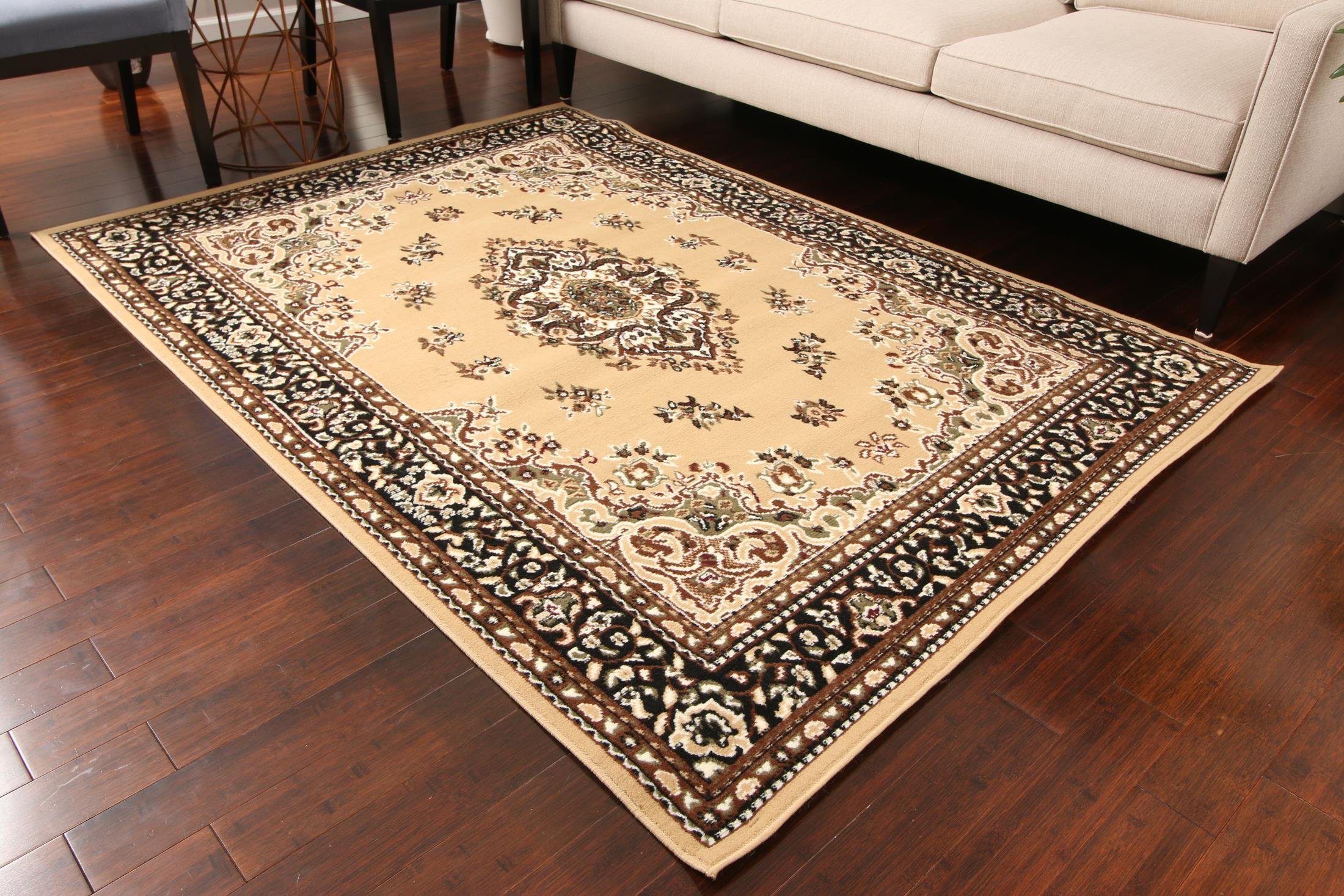 Generations New Beige Oriental Traditional Isfahan Persian Area Rugs Rug 8052beige 2 x 3