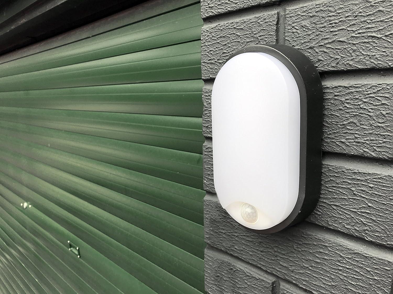 10W LED Oval al aire libre montado en la pared PIR movimiento Sensor luminaria con ajuste negro, luz de pared, iluminación exterior para el jardín, ...