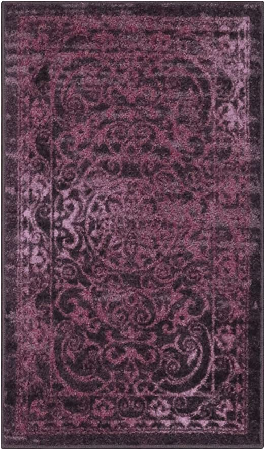 Amazon Com Maples Rugs Pelham Vintage Kitchen Rugs Non Skid Accent Area Mat Made In Usa 1 8 X 2 10 Wineberry Furniture Decor