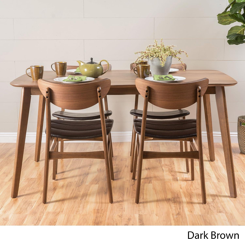 Adelade Dark Brown Leather Natural Walnut Finish 50 Rectangular 5 Piece Mid Century Modern Dining Set