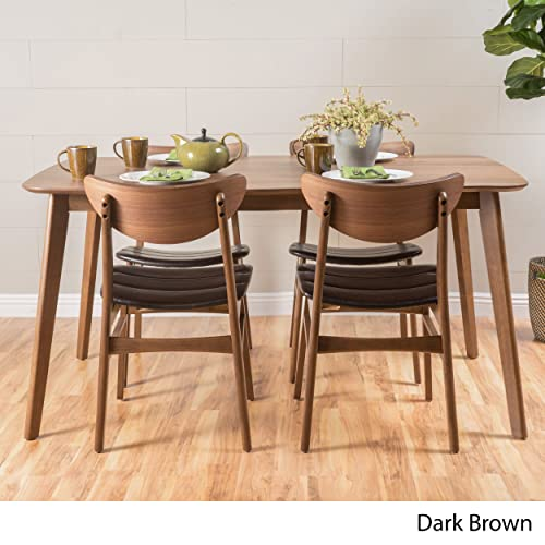 Adelade Dark Brown Leather Natural Walnut Finish 50 Rectangular 5 Piece Mid Century Modern Dining Set