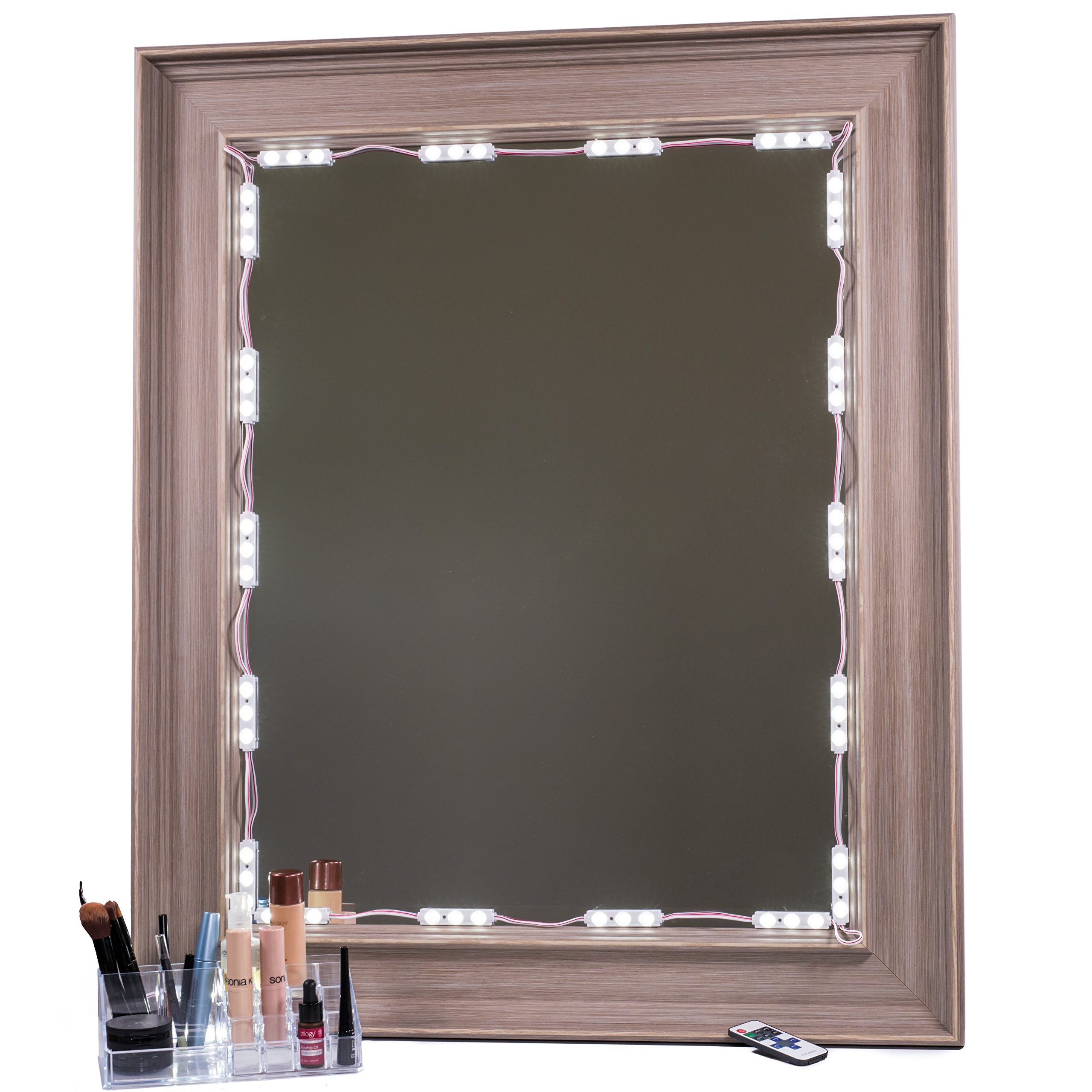 Vanity Mirror Makeup Lights Kit with Added Bonus Acrylic Cosmetic Organizer Hollywood Style 60 LED Adjustable Dimmable Natural Lighting Fixture Strip for Table Top Dresser Set