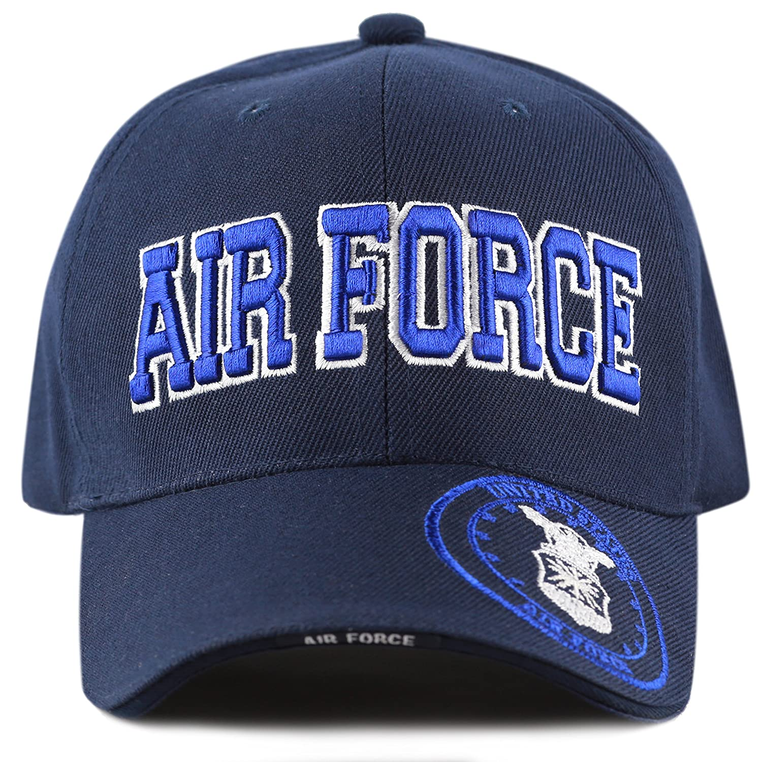 ccc746264 THE HAT DEPOT 1100 Official Licensed Military 3D Embroidered Logo Cap (Air  Force Navy) at Amazon Men's Clothing store: