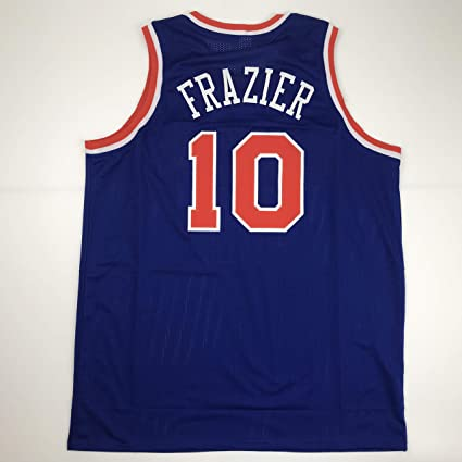 more photos dde38 14ccd Unsigned Walt Frazier New York Blue Custom Stitched ...