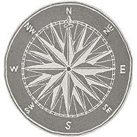 Liora Manne FTPD3144747 1447/47 Compass Grey Rugs 3' Round Mariner