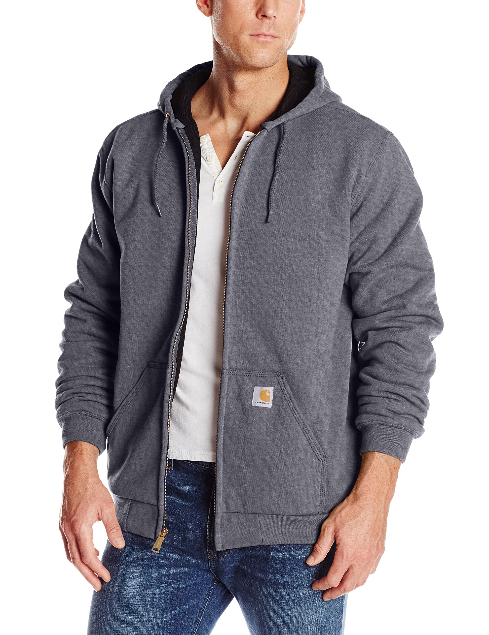 Carhartt Rutland Thermal-Lined Hooded Zip-Front Sweatshirt, Carbon Heather, XX-Large Tall