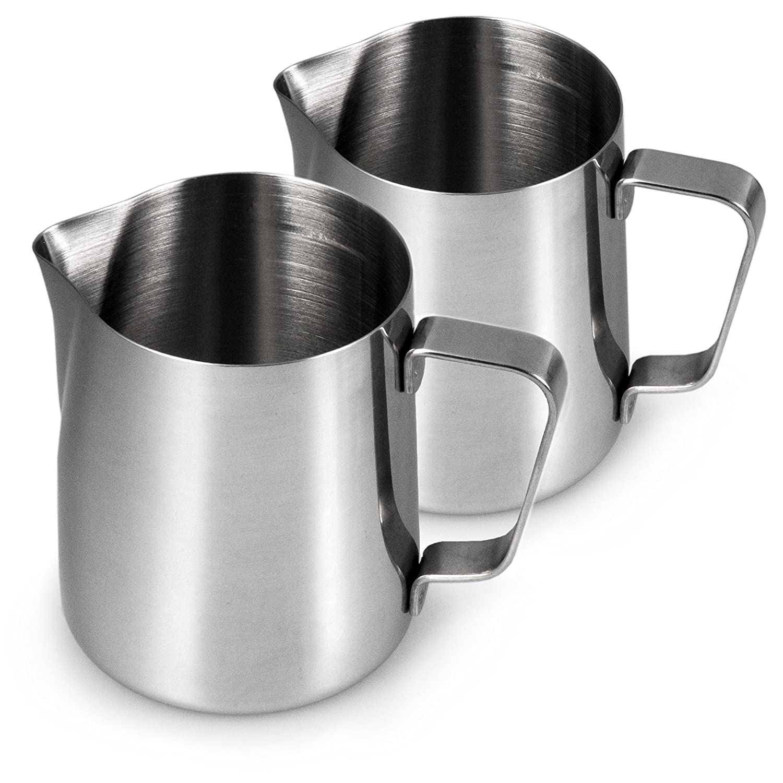 Pot à lait en acier inoxydable pour faire mousser en lot de 2mousseur à lait, Lait Théière 500ml, pour café 0,5l, mousse de lait, Barista Pot à lait, Cafe, Couleur: Argent Brillant, marque youzin