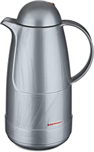 Rotpunkt Insulating Jug 215, 1.5 Litre, Double-Walled Vacuum Insulation, Dual Function Screw Top, BPA Free, Healthy Drinking, Made in Germany, Warm + Cold, Glass Insert Silverstar