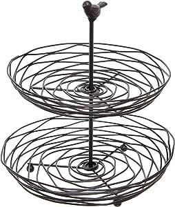 Black Metal Bird Nest Design 2 Tier Kitchen Produce & Fruit Basket/Decorative Display Stand - MyGift