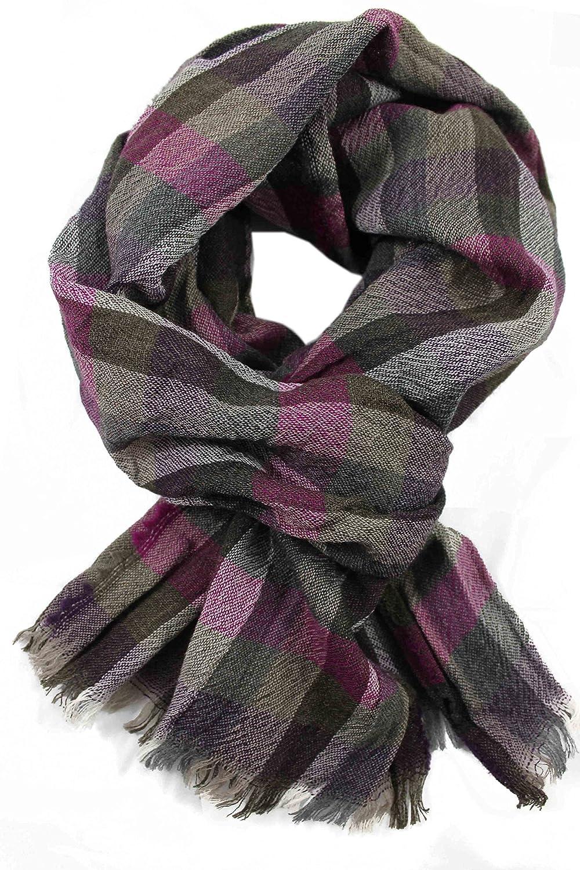 Bufanda bufanda de verano chal Crash Crinkle gris violeta de moda 100% lana (Merino) R-139