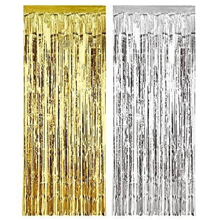 2 Pieces Party Curtains Metallic Silver Fringe Curtain Gold Shimmer Foil For Wedding Birthday Home