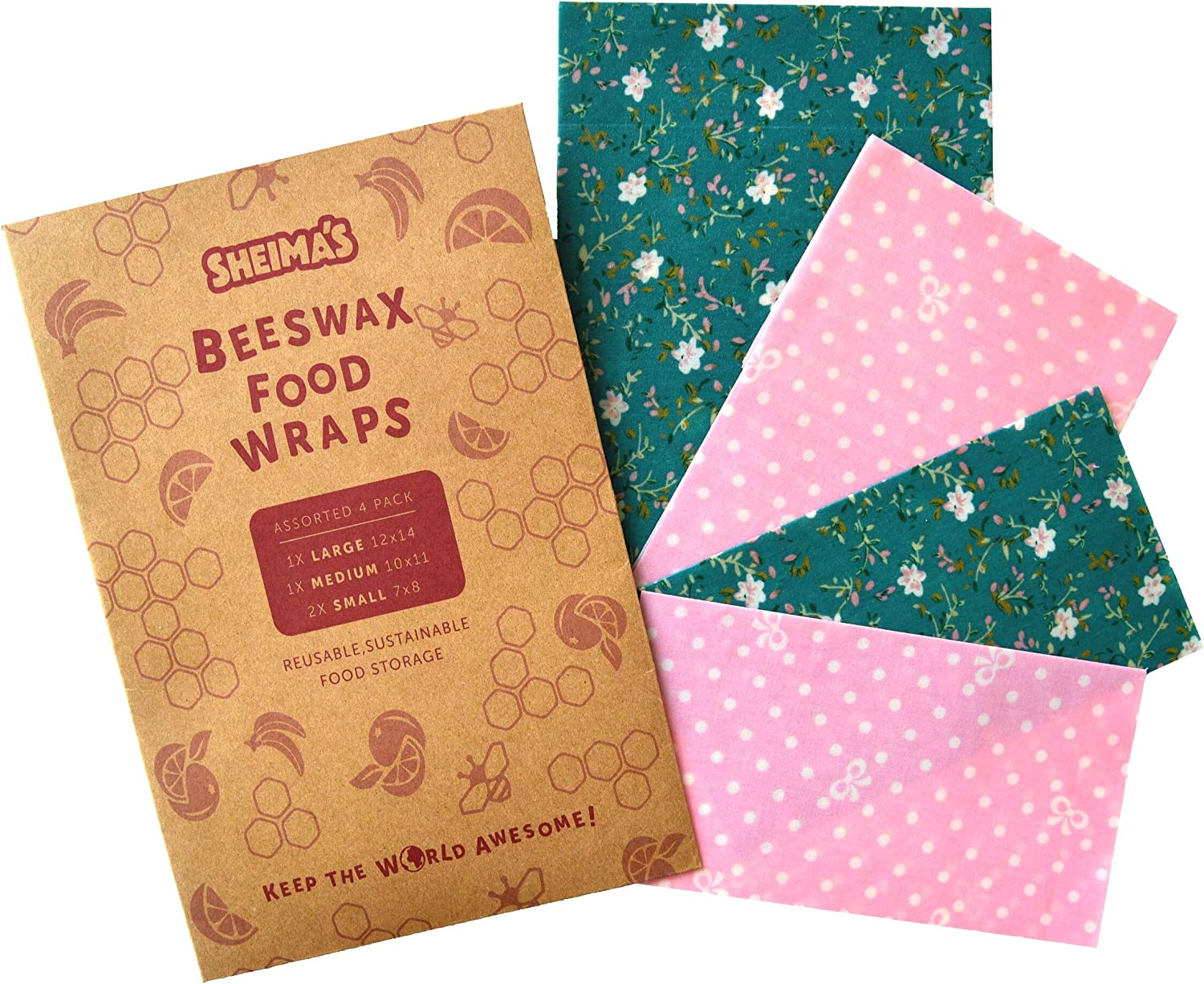 Beeswax Food Wraps Assorted 4 Pack - Organic&Natural, Reusable, Sustainable, Plastic Free Food Storage- Eco Friendly Wraps by Sheima's- 2 Small, 1 Medium, 1 Large
