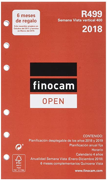 Finocam Open R499 - Recambio anual 2018, español, 91 x 152 mm, 80 g/m²