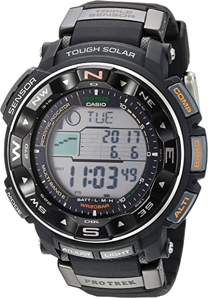 Amazon.com: Casio Men's PRO TREK Stainless Steel Japanese-Quartz Watch with  Resin Strap, Black, 17 (Model: PRW-2500R-1CR): Sports & Outdoors