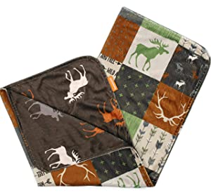 Dear Baby Gear Deluxe Baby Blankets, Custom Minky Print Double Layer, Faux Quilt Rust Adventure and Moose on Brown, 38 inches by 29 inches