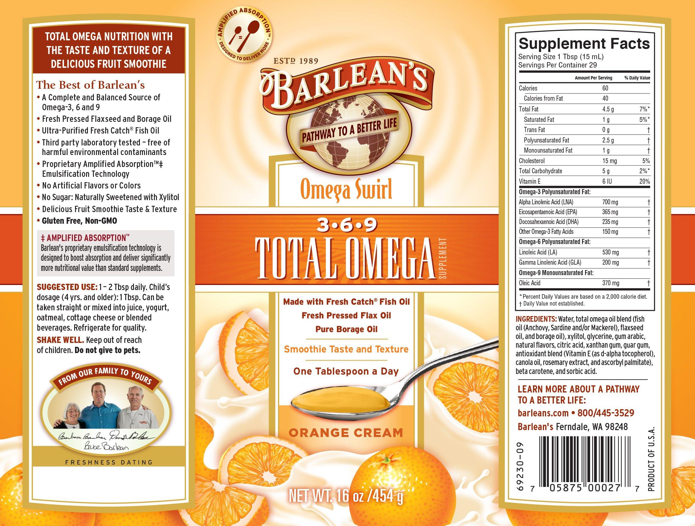 Barlean's Orange Cream Total Omega Swirl, 16-Ounce