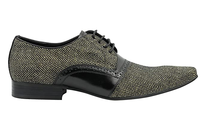 Xposed Mens Herringbone & Real Leather Shoes Smart Retro Laced Derby Black  Brown Size 6 7 8 9 10 11: Amazon.co.uk: Shoes & Bags