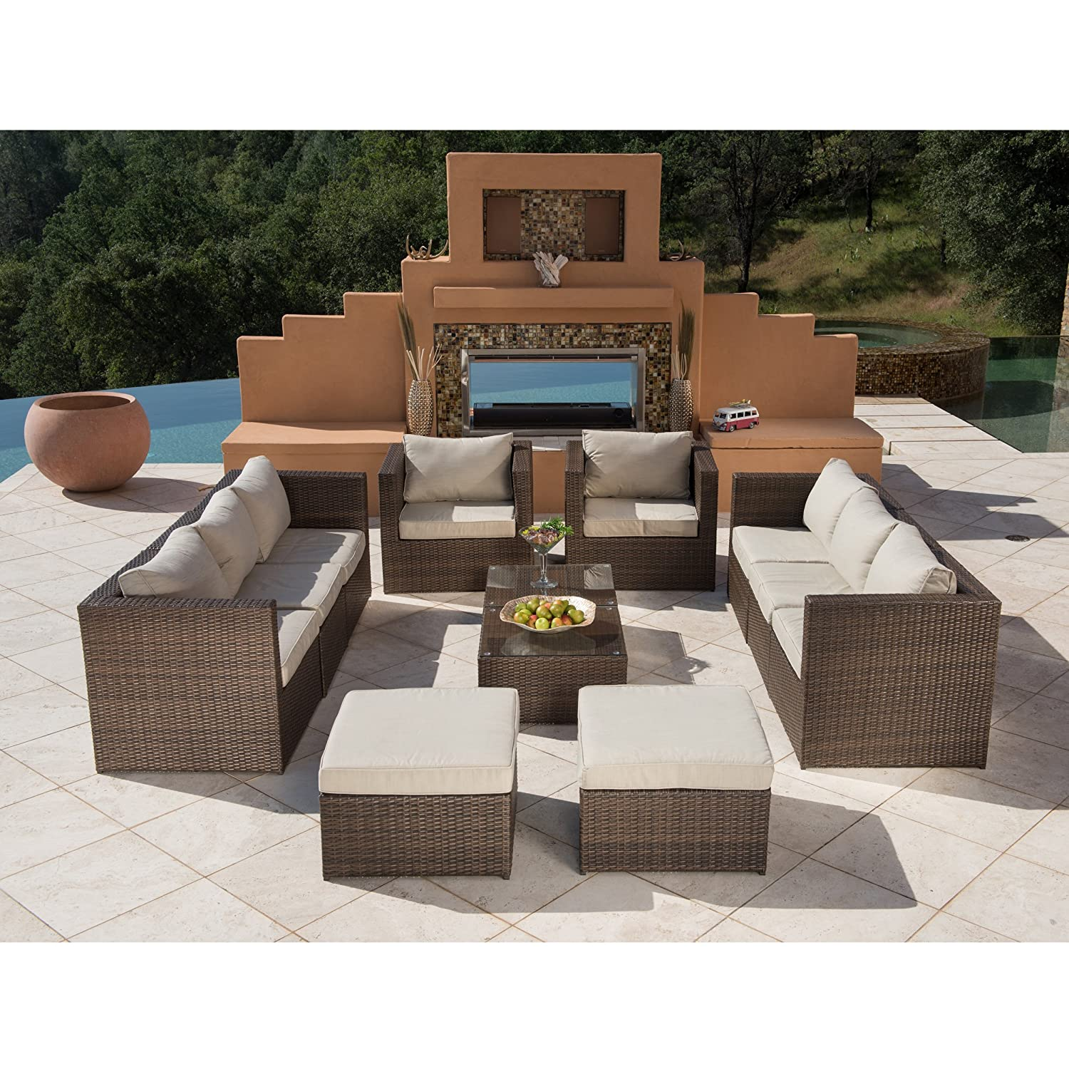 Amazon 12pc Outdoor Rattan Wicker Sofa Sectional Patio