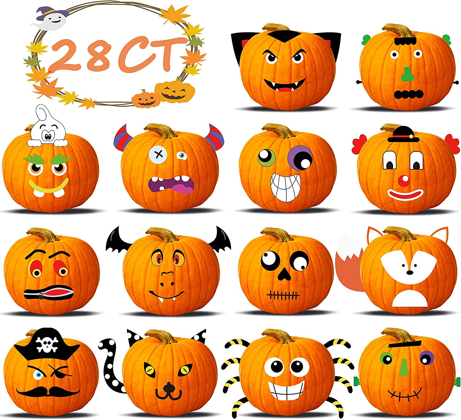28Ct Halloween Pumpkin Decorating Crafts - Make Your Own 3D Jack-O-Lantern Face Decoration Foam Cutout Trick or Treat Party Favors