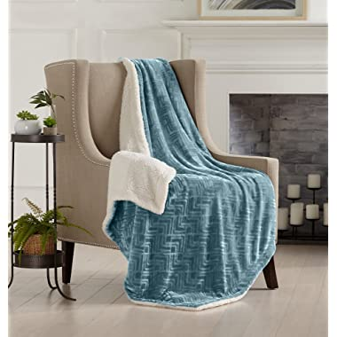 Home Fashion Designs Premium Reversible Two-in-One Sherpa and Sculpted Velvet Plush Luxury Blanket. Fuzzy, Cozy, All-Season Berber Fleece Throw Blanket Brand. (Blue Surf)