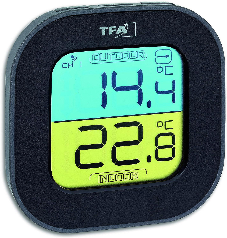 TFA Dostmann Fun Termómetro Sensor inalámbrico, Interior y Exterior, Flechas de tensión, Color Negro