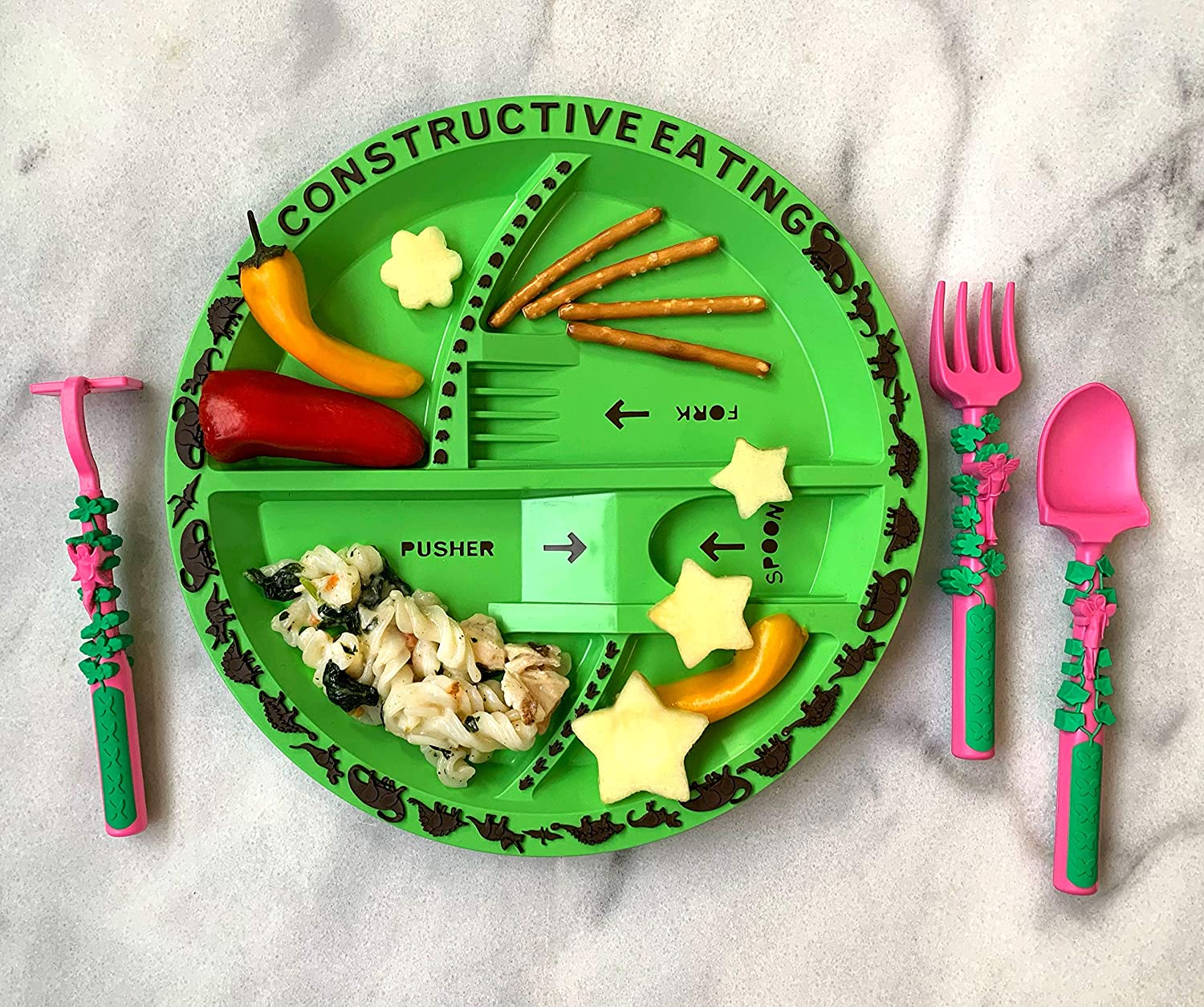 Constructive Eating Combo with Set of 3 Garden Fairy Utensils and Dinosaur Plate for Toddlers, Infants, Babies and Kids - Flatware Set is Made in The USA Using Materials Tested for Safety