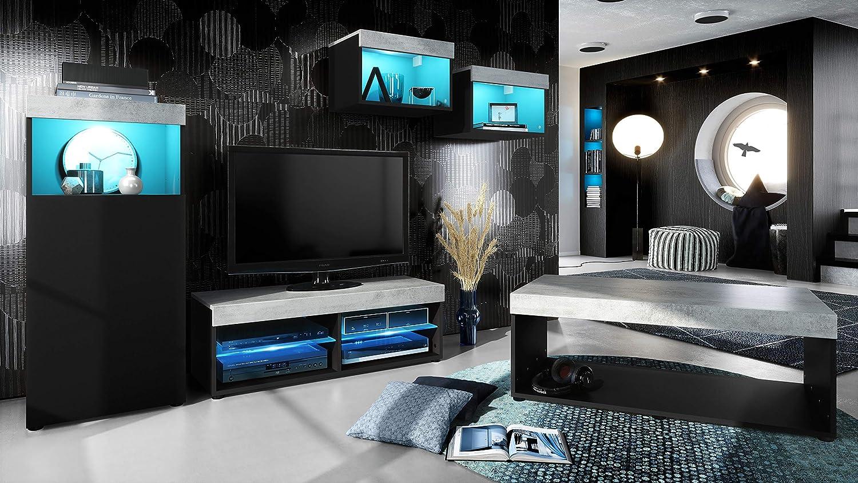Vladon Conjunto de Muebles Pure para Sala de Estar   Mesa Baja, 2 estanterías, gabinete, Mesa   Cuerpo en Negro Mate/Partes Superiores y Paneles en hormigón Oxidado con iluminación LED RVA: Vladon: