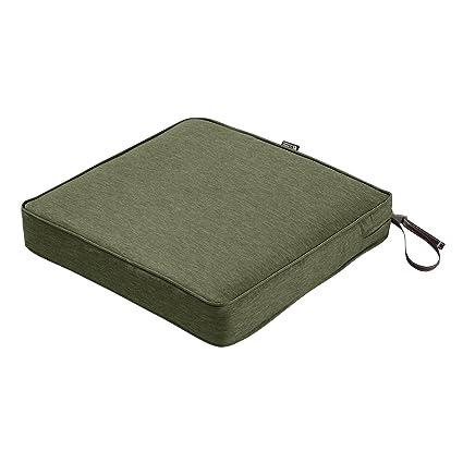 Classic Accessories Montlake Seat Cushion Foam Slip Cover Heather Fern 21x21x3 Thick
