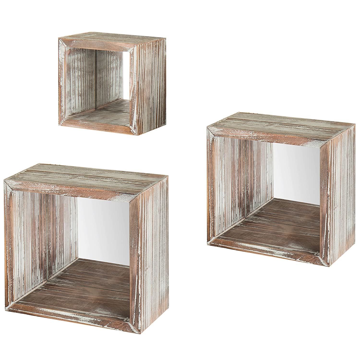 MyGift Set of 3 Square Torched Wood Wall-Mounted Shadow Boxes with Reflective Backing