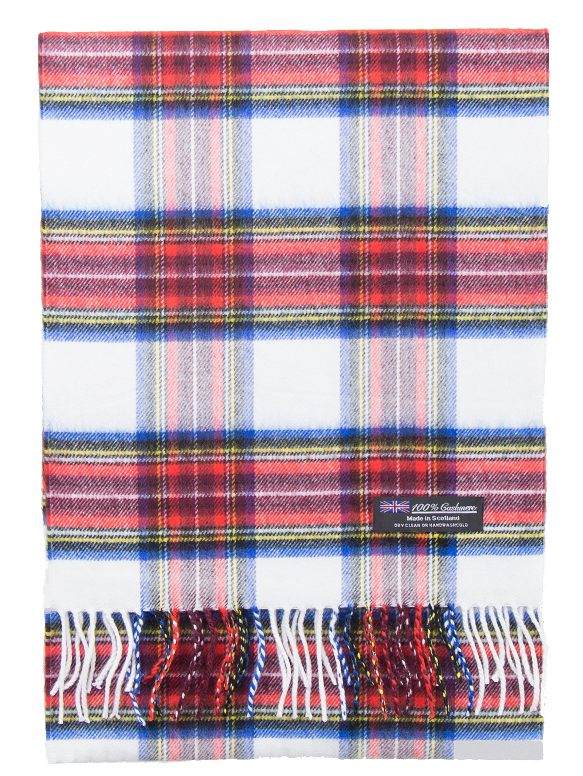 2 PLY 100% Cashmere Winter Scarf Elegant Collection Made in Scotland Warm Soft Wool Solid Plaid (White Red Blue Green 1606)