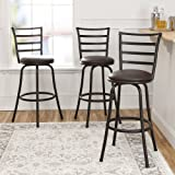 3-Piece Ladder Back Ajustable Height Sturdy Metal Frame Swivel Barstool, Comfortable Seat Cushions, Hammered Bronze…