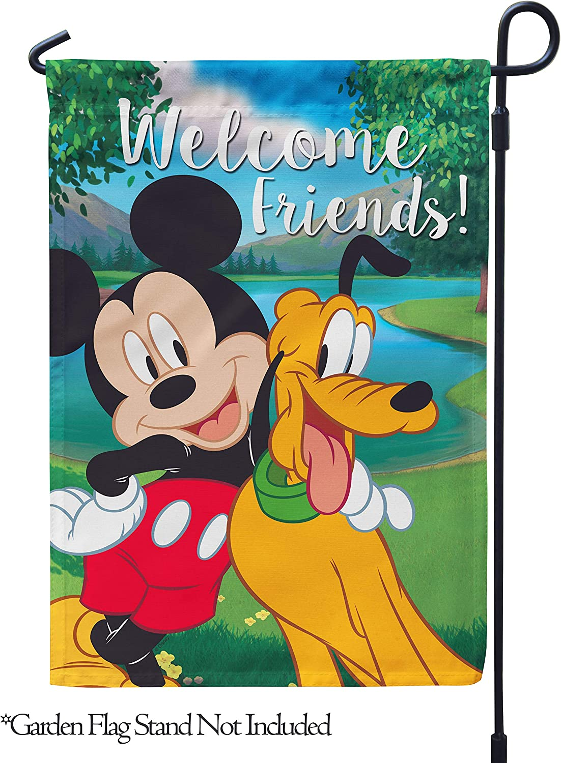"""Flagology.com, Disney, Mickey Mouse, Pluto, Mickey & Pluto Welcome Friends – Garden Flag – 12.5"""" x 18"""", Outdoor, Exclusive Premium Fabric, Printed on Both Sides, Officially Licensed Disney"""