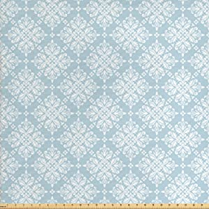 Lunarable Vintage Fabric by The Yard, Baroque Medieval Inspired Pattern with Swirles and Flowers Design, Decorative Fabric for Upholstery and Home Accents, 1 Yard, Light Blue
