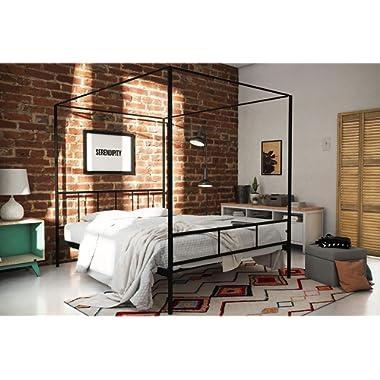 Novogratz Marion Canopy Bed Frame, Black, Queen