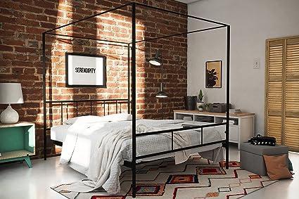 055f25590359 Amazon.com: Novogratz Marion Canopy Bed Frame, Black, Queen: Kitchen ...